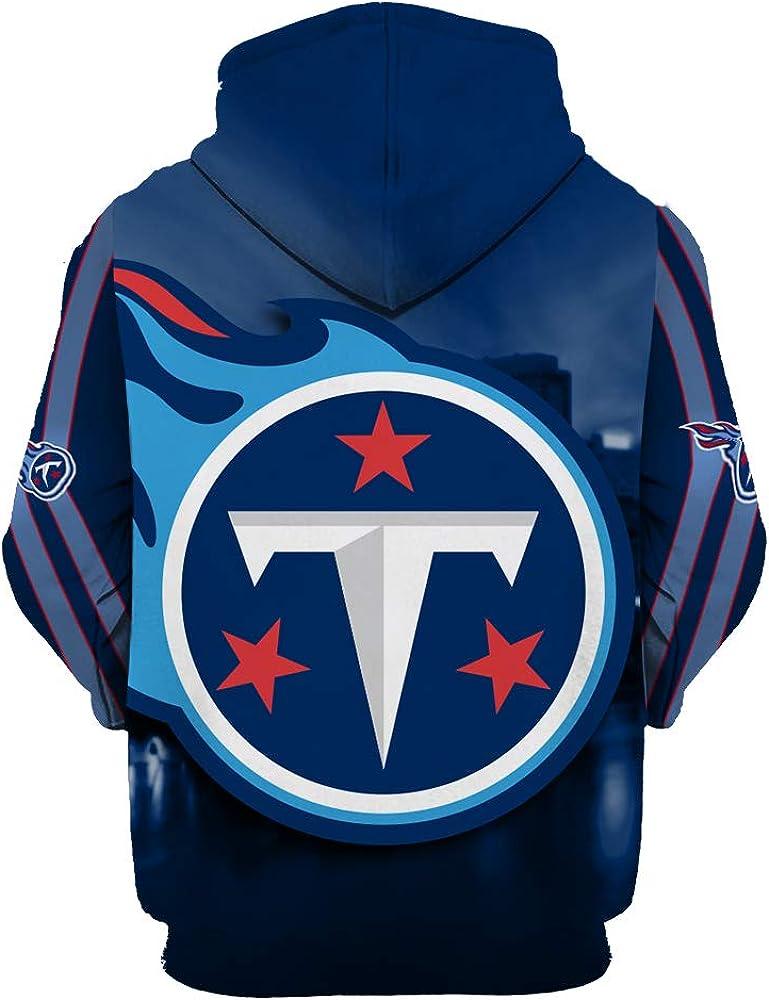 Mens Long Sleeve 3D Digital Print Football Team Tennessee Titans Couples Pullover Hoodies