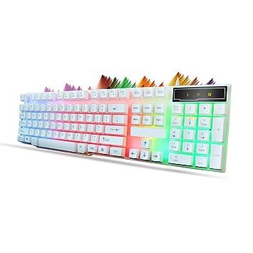 Ba Zha Hei de Multimedia 3 Colores iluminados LED retroiluminación USB Wired PC Gaming Keyboard PC Juegos Teclado de Teclado mecánico retroiluminado de Tres ...