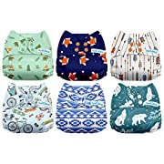 Mama Koala One Size Baby Washable Reusable Pocket Cloth Diapers, 6 Pack with 6 One Size Microfiber Inserts (Outdoor Journey)