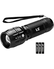LE LED Torch, Adjustable Focus Tactical Flashlights, Powerful Handheld Torch, Pocket Size, 3 AAA Batteries Included