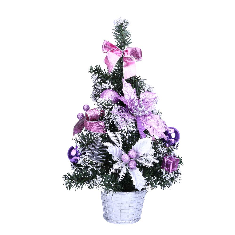 Oldeagle Christmas Mini Christmas Tree, Artificial Christmas Miniature Tree Ornament Desk Table for Christmas Festival Decorations(40cm) (Purple)