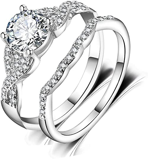 New Handcraft White Gold Plated on Sterling Silver ring band with large flower design of white round CZ