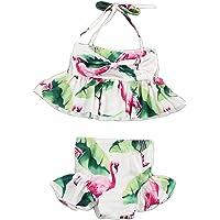 Vosarea Toddler Baby Girls Two Pieces Bikini Set Flamingo Swimwear Beach Swimsuit for Height 90cm