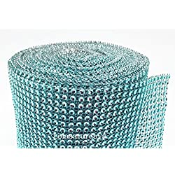 "LolaSaturdays 4.5""x 30FT Diamond Rhinestone Ribbon Wrap Roll- Cake and party decoration (Diamond, Turquoise)"