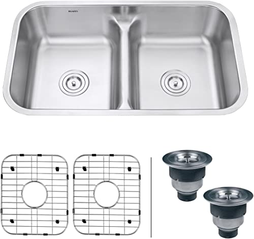 Ruvati 32-inch Low-Divide 50/50 Double Bowl Undermount Kitchen Sink