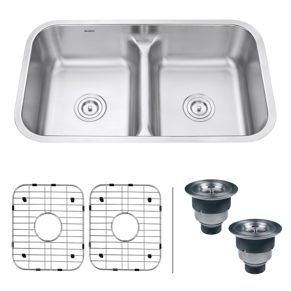 Ruvati 32-inch Low-Divide 50 50 Double Bowl Undermount 16 Gauge Stainless Steel Kitchen Sink RVM4350
