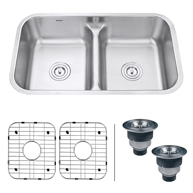 Best Double Bowl Kitchen Sinks Ruvati 32-Inches 50/50 Low-Divide Double Bowl Undermount 16-Gauge Stainless-steel Kitchen Sink