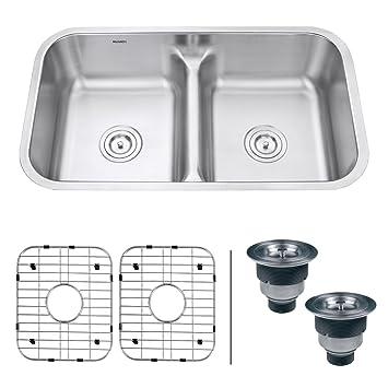 ruvati rvm4350 undermount 32 u0026quot  low divide 16 gauge kitchen sink double bowl ruvati rvm4350 undermount 32   low divide 16 gauge kitchen sink      rh   amazon com