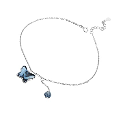 Amazon Com T400 925 Sterling Silver Anklet Blue Pink Butterfly Foot