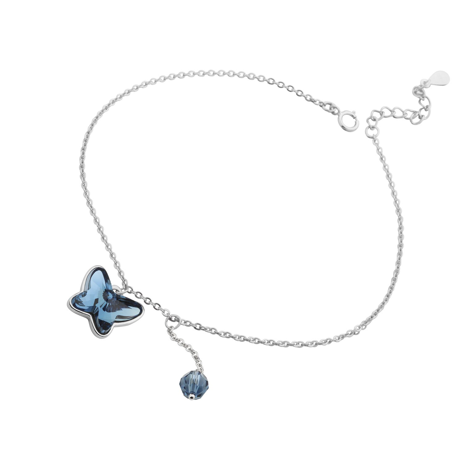 T400 Jewelers Sterling Silver Butterfly Shape Anklet Made with Swarovski Elements Crystal,8.7'' (Blue) Love Gift