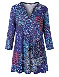 Tanst Tunic Tops for Leggings for Women Ladies 3/4 Sleeve Blouse Nice Shirt Notch V Neck Cute Sexy Vibrant Relaxed Fit Office Casual Clothing Blue XL