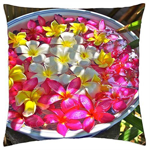 Bowl of Plumeria Flowers beautiful - Throw Pillow Cover Case (18