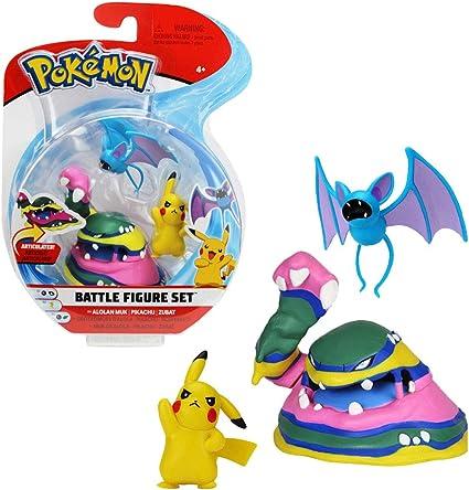 Pokemon 82971 Pack of 3 Figurines Pikachu Nosferapti and Alolan Muk