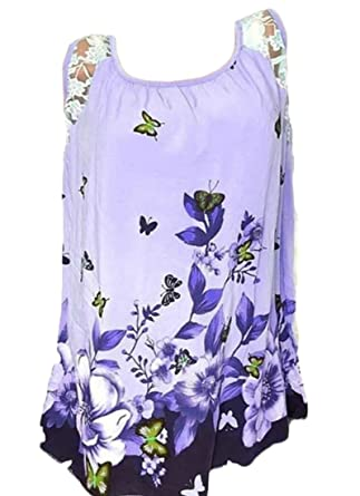Spirio Women Casual Sleeveless Lace Stitching Floral Print T-Shirts ...