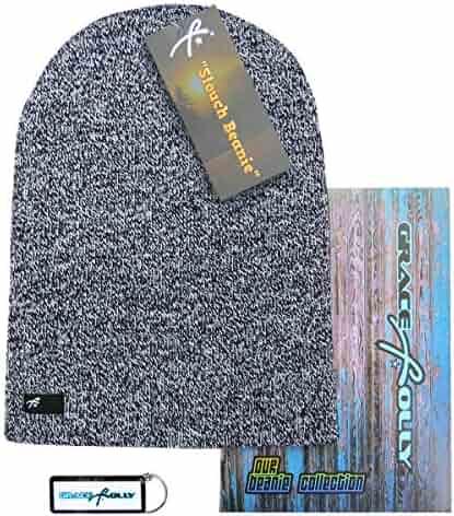 26429532c13 Grace Folly Slouch Beanie Hat for Men (Skull Cap) with Bonus Keychain (Many