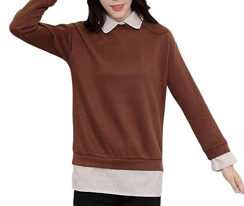 Mujeres De Gran Tamaño Falsificación Dos Que Basa La Camisa De Manga Larga Chaqueta De La Camisa