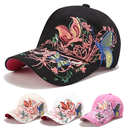 Taihemingna 2018 New Women Cotton/Embroidered Caps Butterfly Hat Hat Flower Baseball Sport Golf Adjustable Breathable Sun Hat Baseball Running Cap Sunhat Mesh Sunbonnet Outdoor (Black)