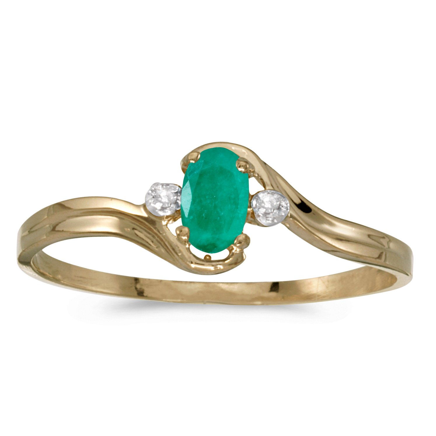 14k Yellow Gold Oval Emerald And Diamond Ring (Size 7.5)