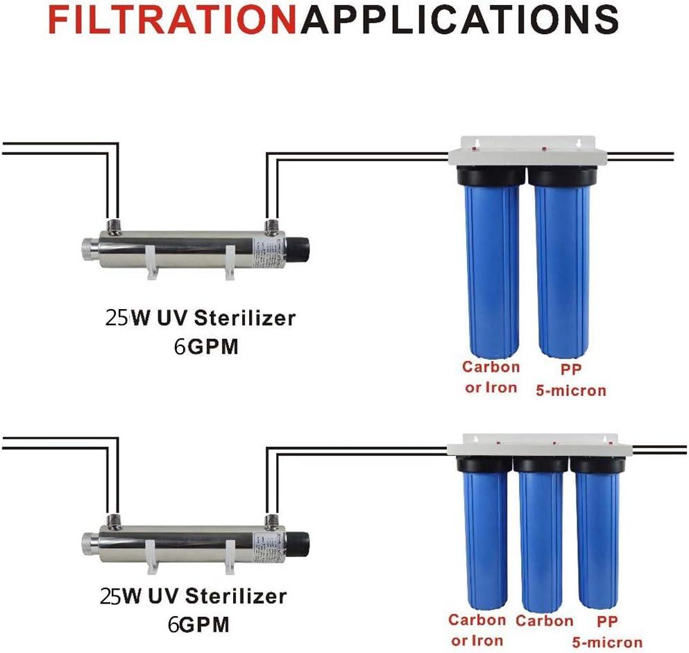 25W Luz Ultravioleta purificador de agua para toda la casa UV Esterilizador filtro 6 GPM (1.4T/H) Anti-bacterias Sistema de tratamiento de agua con 1/2