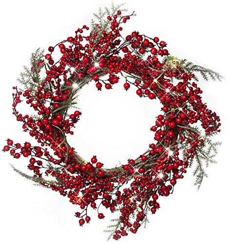 Cranberry Wreath - 22 Inch Light-Up Christmas Wreath with Red Cranberries, Plug-in Operated LED Lights