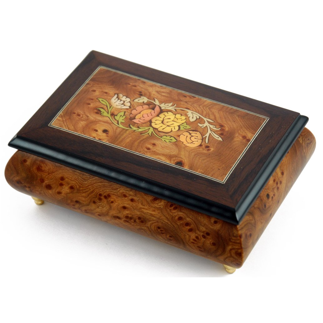 Traditional Style Floral Theme Wood Inlay Music Jewelry Box - Many Song Choices