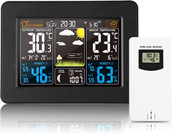 Konesky Wireless Weather Station with Indoor//Outdoor Wireless Sensor Garden Color Screen Forecast Clock Temperature Humidity//Electronic Alarm Clock Bamboo Color for Home