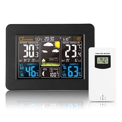 Estación meteorológica inalámbrica Reloj digital colorido del pronóstico del tiempo con sensor exterior Termómetro exterior Temperatura Humedad ...
