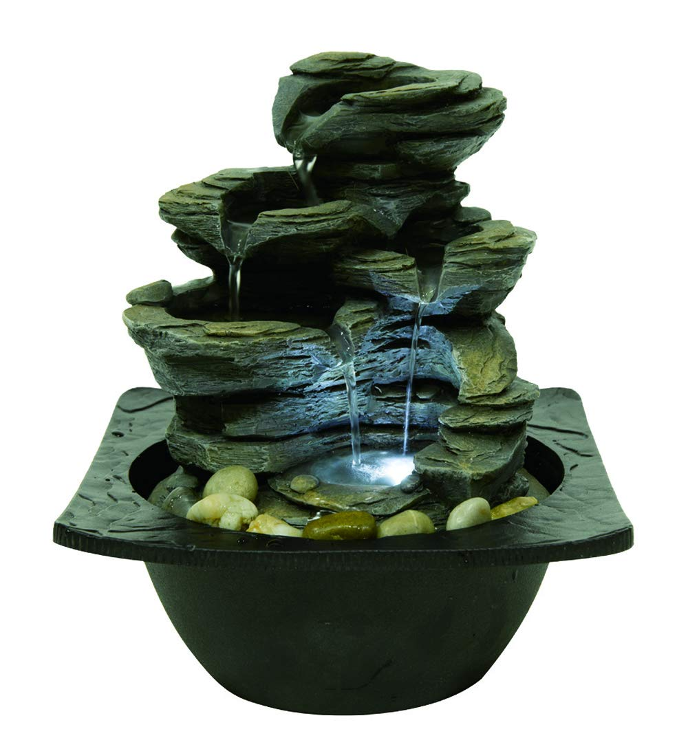 Willhome 3-Tier Flowing Bowls Water Fountain Round Stone Resin Table Fountain with LED Lights by Willhome