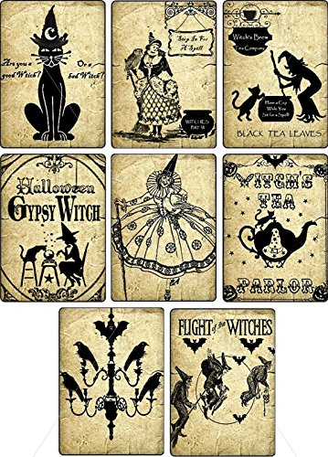 Vintage Halloween witches pumpkin cat bottle stickers labels Potion Bottle Sticker Labels Voodoo New Orleans Halloween Wine Mardi Gras 8 bottle label stickers apothecary -