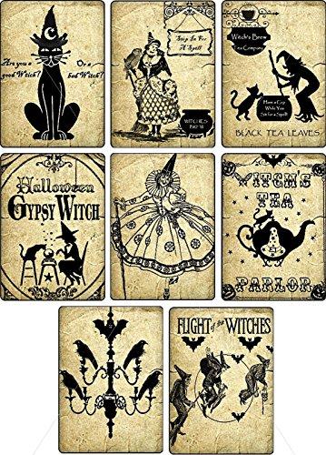 Vintage Halloween witches pumpkin cat bottle stickers labels Potion Bottle Sticker Labels Voodoo New Orleans Halloween Wine Mardi Gras 8 bottle label stickers apothecary (New Orleans Halloween Vintage)