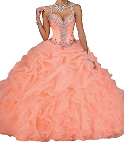 Dydsz Women's Sweetheart Ball Gown Long Prom Quinceanera Dresses Party Plus Size D18