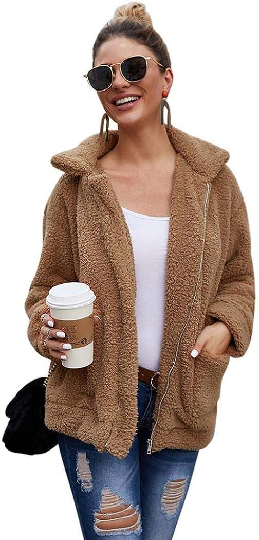 Women Casual Fleece Coat Faux Shearling Jacket Lapel Zipper Warm Winter Oversized Cardigan Coat