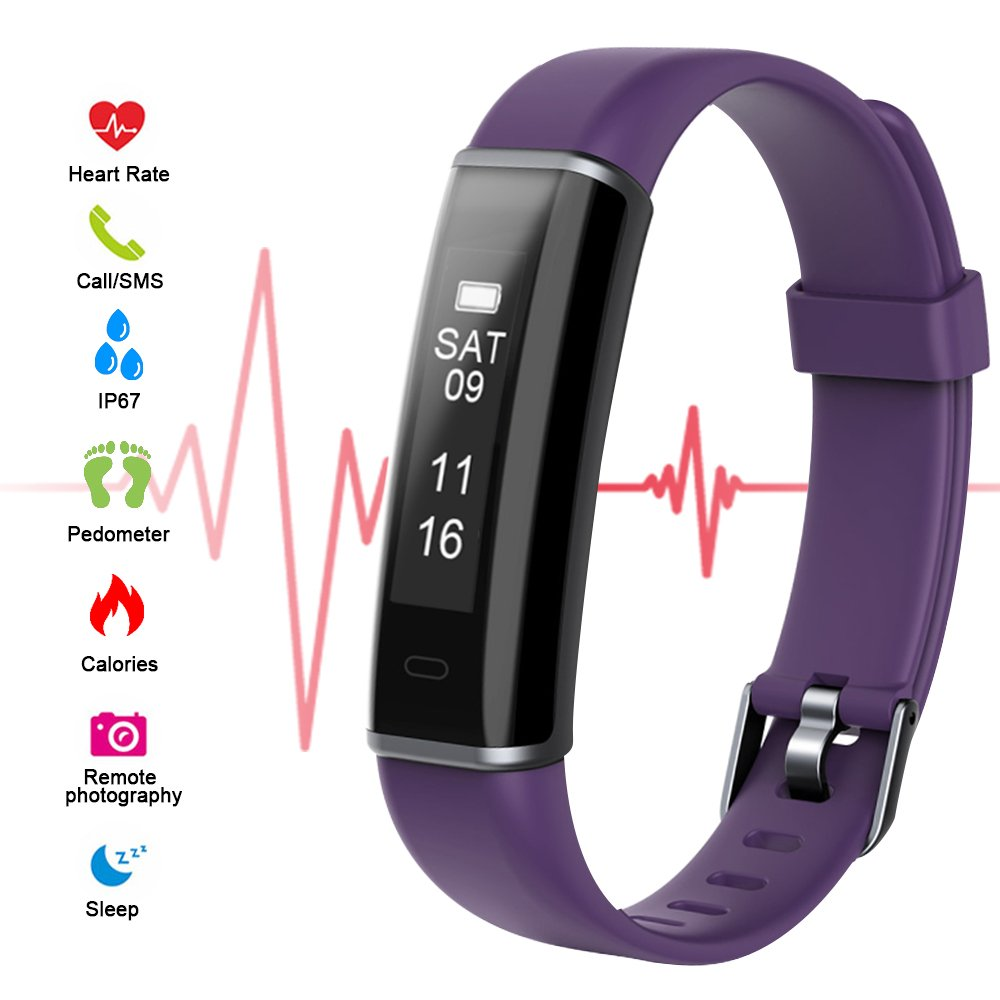 Riocean Fitness Tracker, Slim Smart Watch with Heart Rate Monitor, Waterproof Bluetooth Sleep Monitor, Calorie Step Distance Counter Activity Tracker, SMS Call Sedentary Reminder