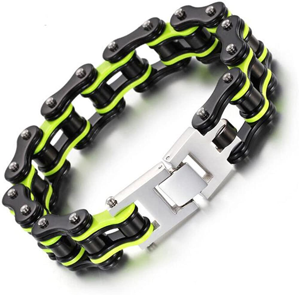Mens Stainless Steel Bracelet Link Wrist Skull Punk Rock Biker Silver Black