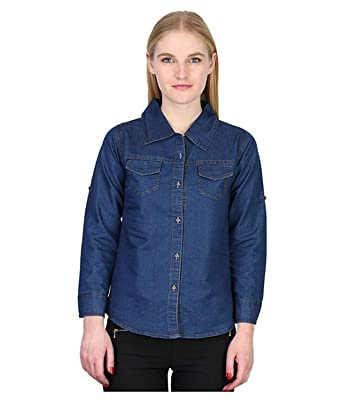 8fb4717a1 Trendy Frog Women Long Sleeve Solid Denim Shirt Top, Blue: Amazon.in ...