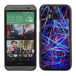 Soft Silicone Rubber Case Hard Cover Protective Accessory Compatible with HTC ONE M8 2014 - Abstract Neon Lines