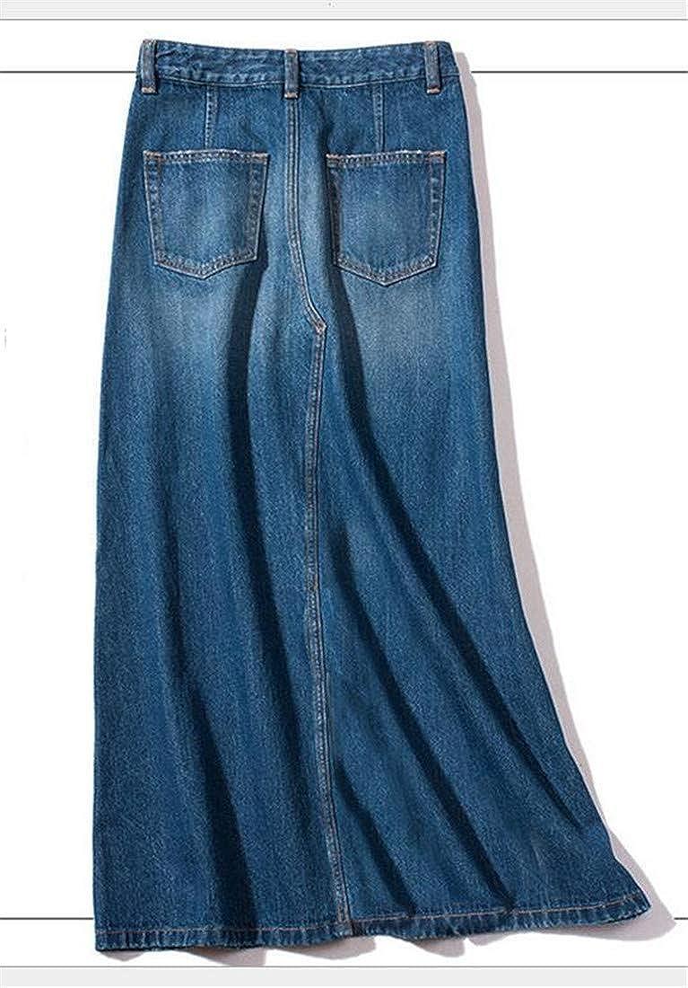 YULEgowinner Womens Distressed High Rise Jean Denim A-Line Swing Long Skirts