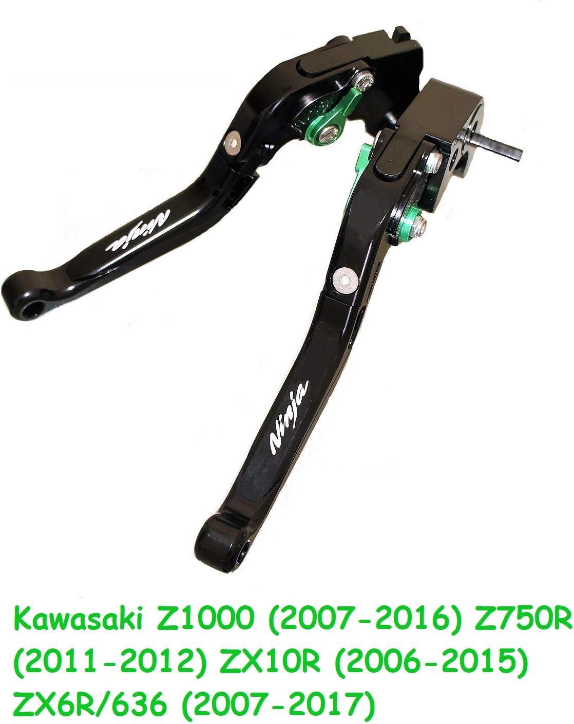 ZX10R Z750R ZX6R//636 2011-2012 Manette Leiver dembrayage et de frein r/églables avec logo pour Kawasaki Z1000 court 2006-2015 2007-2017 2007-2016