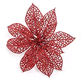 Crazy Night (Pack of 10) Glitter Red Poinsettia Christmas Tree Ornaments (Red)