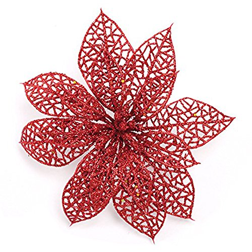 Red Glitter Tree - Crazy Night (Pack of 10) Glitter Red Poinsettia Christmas Tree Ornaments (Red)