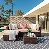 Super Patio Outdoor Patio Furniture Set, Upgrades 5-Piece All Weather PE Brown Wicker Set Sofas with Glass Coffee Table and Ottoman, Steel Frame, Beige Cushions