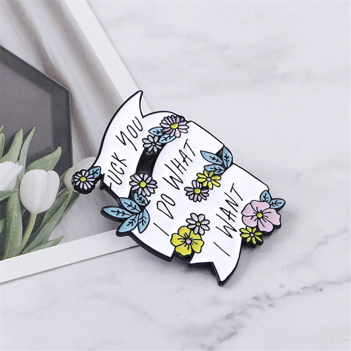 Tcplyn  Cartoon Plant Flower Lettering Enamel Pin Collar Lapel Brooch Badge Clothing Accessories by Tcplyn (Image #4)