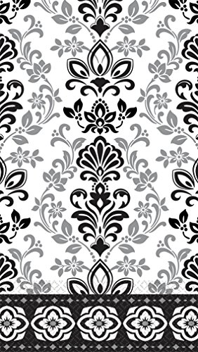 - Black, Silver and White Ornate Damask ECO Guest Paper Towels | 16 Ct. | 8
