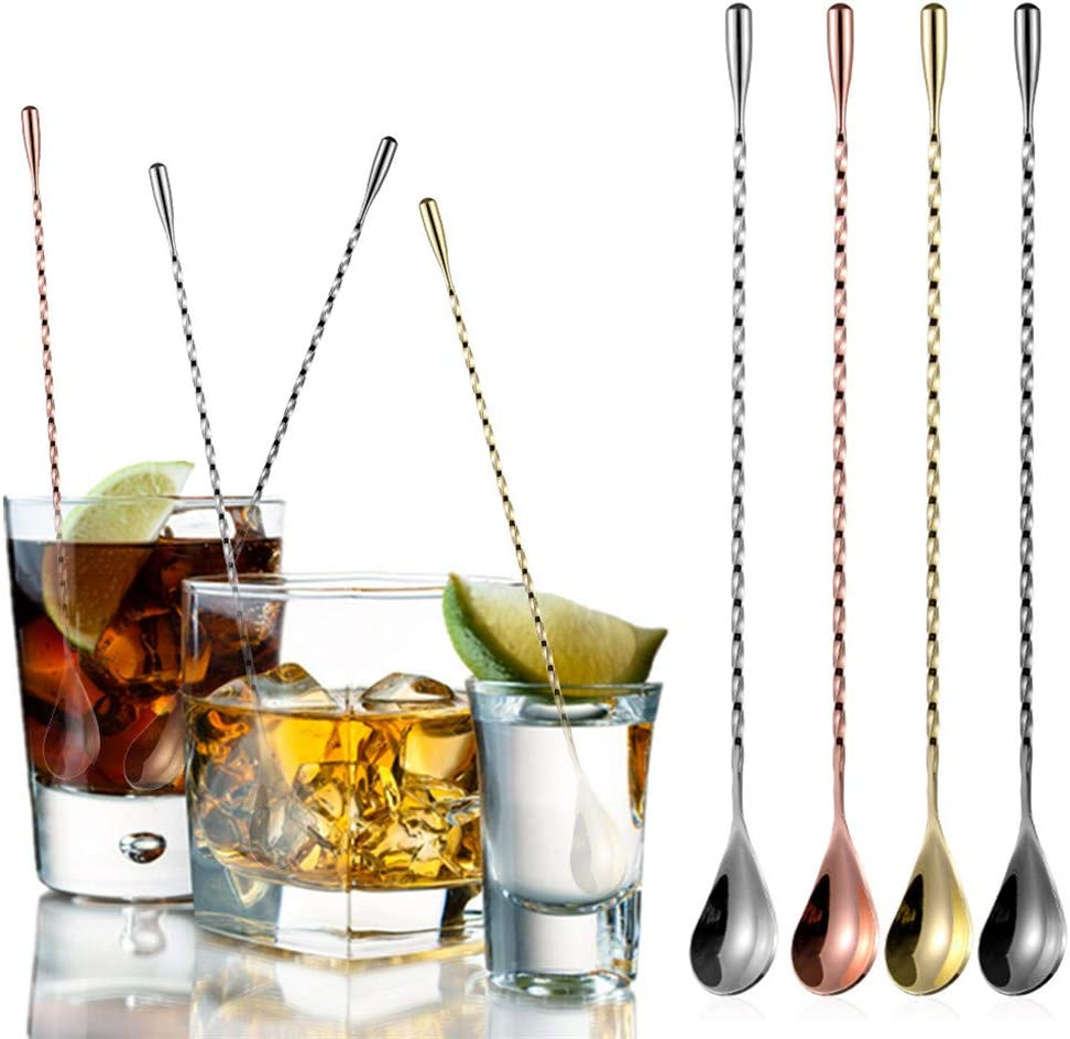 FunSpt 12 inInchs Stainless Steel Bar Cocktail Shaker Spoon Long Spiral Design with Teardrop End,4 colors available,Black