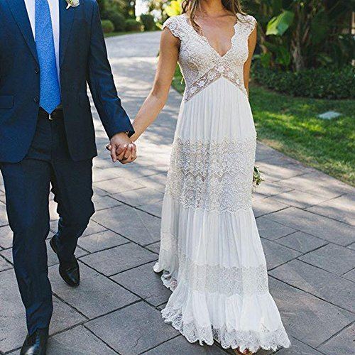 Boho Wedding Dress Under 200: Sexy Double V Neck Boho Wedding Dresses For Bride 2017