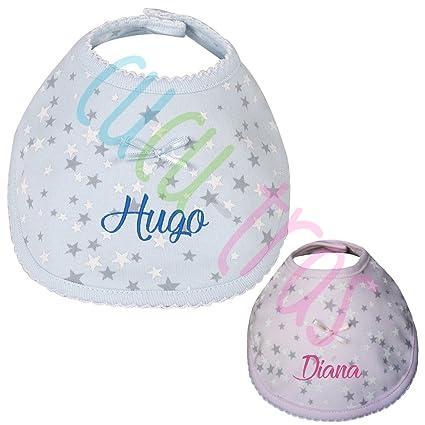 Babero Personalizado especial para Recién Nacido Estrellas, color Rosa o Azul