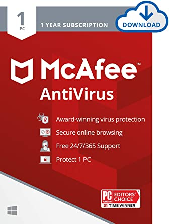Amazon Com Mcafee Antivirus Protection 2021 1pc Internet Security Software 1 Year Download Code Software