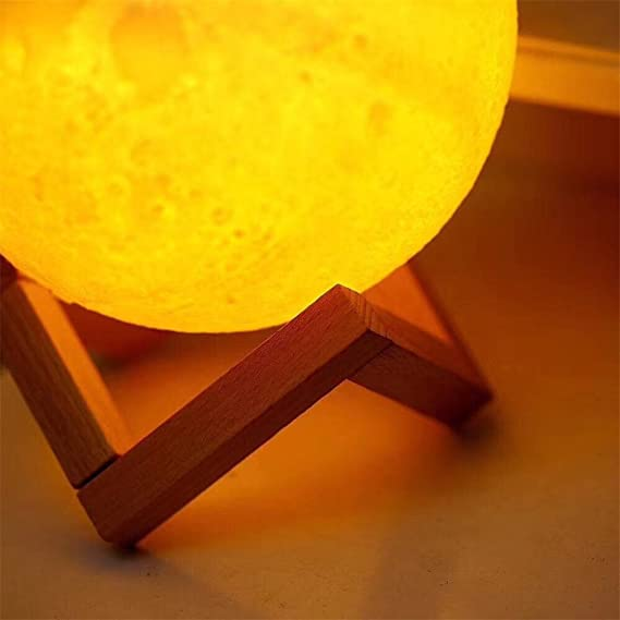 WQRTT Lámpara de Luna Impresión 3D Lámpara de Mesa LED Toque ...