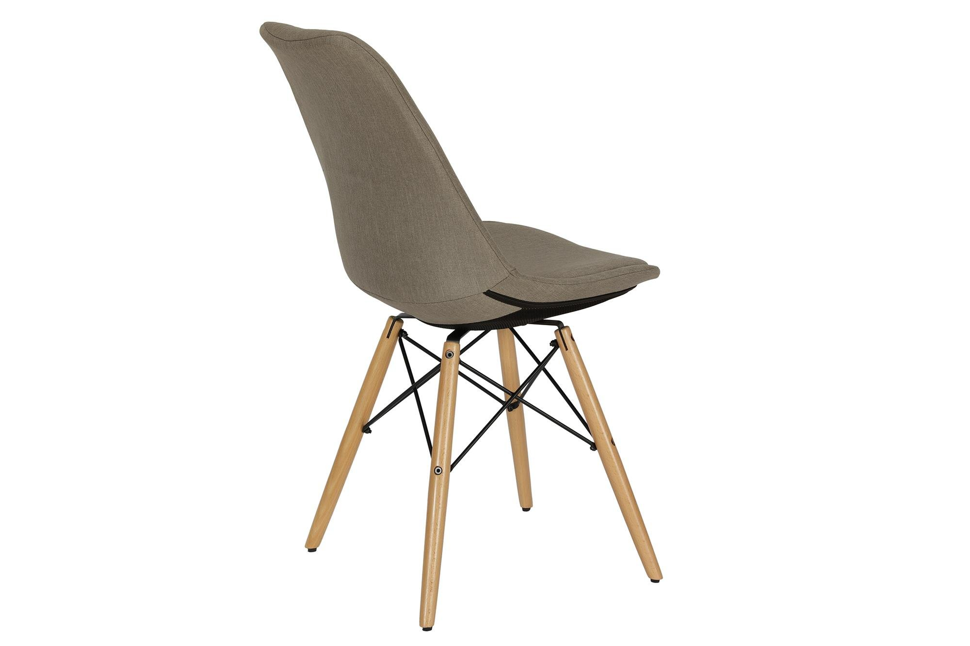 Novogratz Albany Classic Dining Chair in Rich Linen, Mid Century Modern Design, Grey Linen