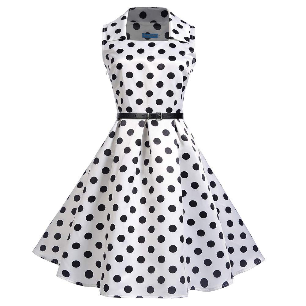 JESPER Women Vintage Square Collar Sleeveless Dot Printed Evening Party Swing Dress US 4/6 White